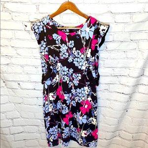 Kaari Blue Floral Ruffle Sleeve Dress Size Medium